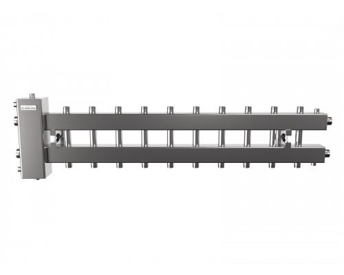 Гидрострелка с коллектором на 11 контуров до 150 кВт (балансировочный коллектор из нержавеющей стали BMSS-150-11DU)